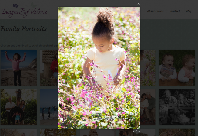 Lightbox example from Images by Valerie website, a client of SB Creative Content