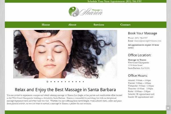 Home Page for Massage by Sharon website, a client of SB Creative Content